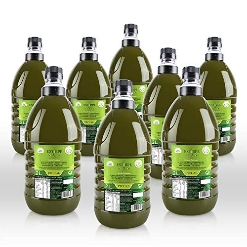 Aceite de Oliva Virgen Extra Premium Estirpe Sin Filtrar -PICUAL- 8 Garrafas de 2 Litros. Nueva Cosecha 2.019/20.