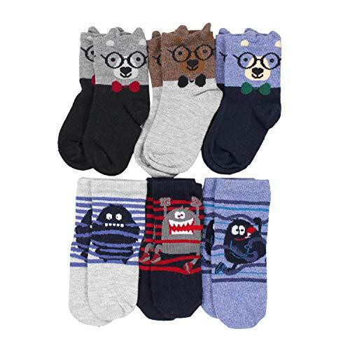 TupTam Kinder Socken Bunt Gemustert 6er Pack für Mädchen und Jungen, Farbe: Junge 12, Socken Größe: 24-26