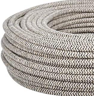 Cable eléctrico redondo/redondo revestido de tela. Color Arena/Canvas Marrón. Sección 2X 0.75