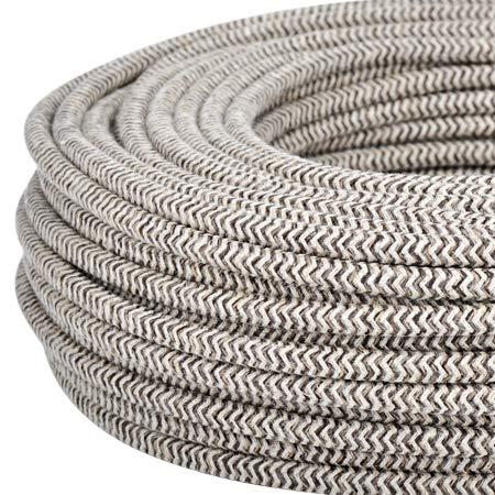 Textilkabel für Lampe, Stoffkabel 3-adrig (3x0,75mm²) - Sand/braunes Segeltuch. Made in Italy (5 Meter)