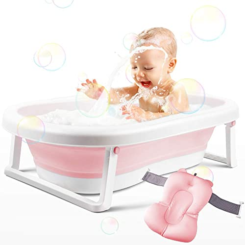 BEWAVE Baby Bathtub, Foldable Infant Bath Tub, Collapsible Newborn Toddler Bathing Support with Cushion for 0-2 Years', Pink