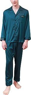 Pijamas para Hombre Satén Largo, 2019 Hombre Parejas Primavera Verano Camisones Pijamas de Parejas Ropa de Dormir, Collar con Bolsillo con Botones