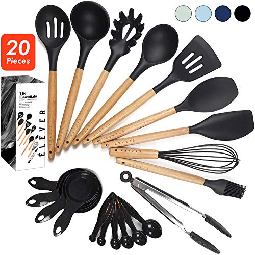 ÉLEVER Kitchen Utensil Set - 20 Cooking Utensils. Kitchen Gadgets for Nonstick Cookware Set. Kitchen Accessories, Silicone Spatula set, Serving Utensils. Best Silicone Kitchen Utensils Tools Gifts