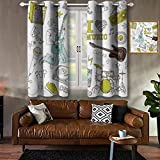 Jinguizi Popstar Party Grommet Drapes Love Music Themed Sketch Composition Instruments Musician Girl 100% Blackout Window Curtain Panel Khaki Pale Blue Brown W104 x L84 Inch