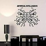 Autocollant mural vinyle Art sticker mural Intelligence artificielle cerveau réseau neuronal technologie informatique autocollant de bureau d'affaires 66x57 cm