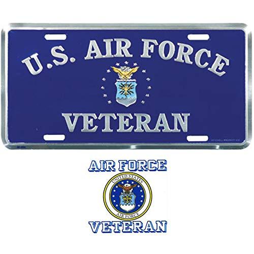 US Air Force Veteran License Plate Bundle with USAF Veteran Decal(Air Force Crest)