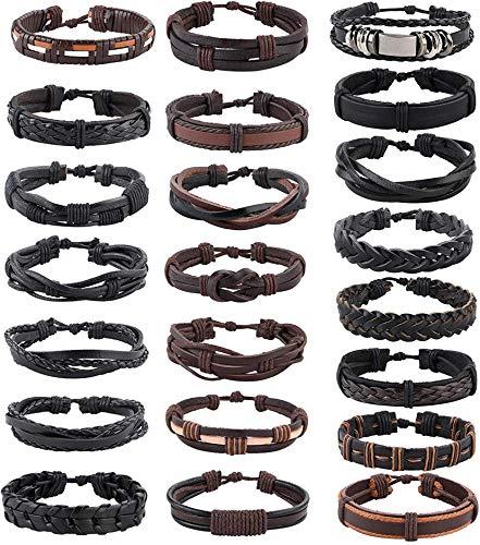 CASSIECA 22 Piezas Cuero Pulseras Set para Hombre Mujer Pulsera de Cuerda Bracelet Vintage Pulsera Ajustable