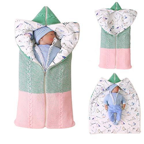 Manta para bebé recién nacido, gruesa y cálida manta de punto más algodón, saco de dormir de forro polar para bebé o niño