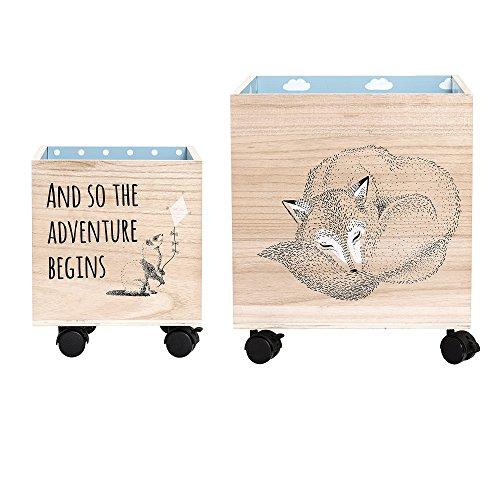 Bloomingville Storage Box w/Wheels, Blue, Paulownia L25xH30xW25/L35xH40xW35 cm, Set of 2