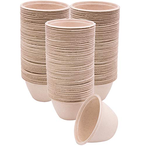 100 Pk of 6 oz Compostable Eco Friendly Bowls Bulk, Paper Bowls Disposable and Biodegradable for Chili Soup Stew