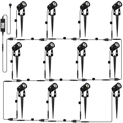 AIMHEIM 12er-Set Gartenstrahler LED Warmweiß, 3W Gartenleuchte Garten Beleuchtung mit Stecker, Schwenkbar Außen-Strahler Aussenbeleuchtung Erdspieß IP65 Wasserdicht für Baum, Pflanzen, Teich