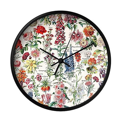 Fleurs Pour Tous - Reloj de pared con diseño redondo y elegante, de cuarzo, funciona con pilas, redondo, fácil de leer para el hogar, la cocina, la oficina/la escuela