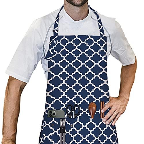 LessMo Schürze, Küchenschürze mit 3 Taschen, Grillschürze mit Verstellbarem Halsriemen für Zuhause, Restaurant, Kunsthandwerk, Garten, Kaffeehaus, Schürze für Männer Frauen, 100% Baumwolle
