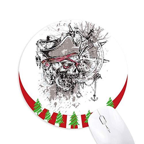 Graffiti Street Pirat Ruder Schädel Muster Rund Gummi Maus Pad Weihnachtsdekoration