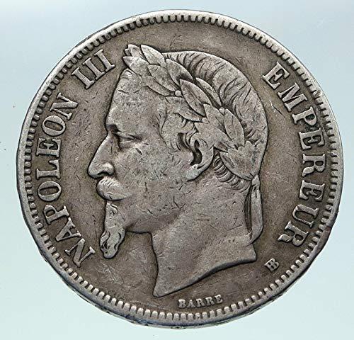 1 FR 1870B FRANCE Emperor NAPOLEON III Antique Arms AR 5 Francs Good Uncertified