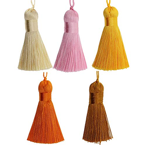 ZMYY 20pcs Handmade Tassels Silky Floss Bookmark Tassels for DIY Making Graduation Cap Wall Hanging 26 Colors 7 Group Series (Warm color series)