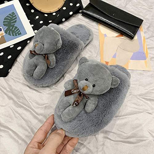 QFYD FDEYL weicher Memory-Schaum,Weibliche Flache Comic-Pantoffeln sowie samtige Winterschuhe aus Baumwolle-Grey_40-41,Damen Comfort Memory Foam Hausschuhe