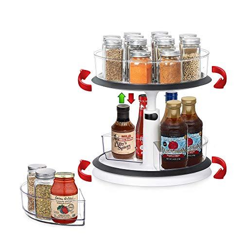Lazy Susan - Organizador giratorio de especias de altura ajustable con cubos de almacenamiento extraíbles para cocina/aparador/sala de estar/baño