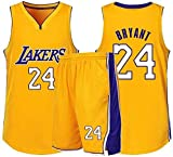 MMW Bryant Kobe NBA Lakers Nº 24 - Camiseta de baloncesto con camiseta y pantalones cortos de Bryant Kobe NBA Lakers n.º 24 de Los Ángeles, camiseta clásica de baloncesto Swingman sin mangas, talla S