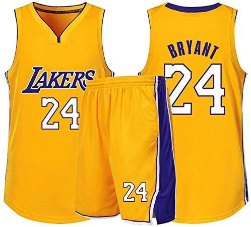 MMW - Conjunto de uniforme de baloncesto con camiseta y pantalones cortos Bryant Kobe NBA Lakers No. 24 Los Angeles Summer Fan Edition-Classic Basketball Swingman Jersey sin mangas