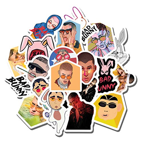 20 PCS Stickers Pack Bad Bunny Aesthetic Vinyl Colorful Waterproof for Water Bottle Laptop Scrapbooking Luggage Guitar Skateboard