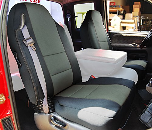 Iggee 1998-2002 DODGE RAM 1500 2500 3500 BLACK/CHARCOAL Artificial leather Custom made fit Front seat covers