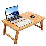 ノートパソコンデスク 竹製 ベッドテーブル ローテーブル 折りたたみ式 高さ調節可能 多機能 トレーテーブル ナチュラル シンプル デザイン どんな部屋でも馴染みします 幅55×奥行35×高さ23~32cm
