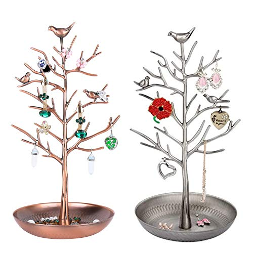 Jewellery Stand,Antique Vintage Birds Tree Branch Earring Necklace Holders Organiser Rack Tower