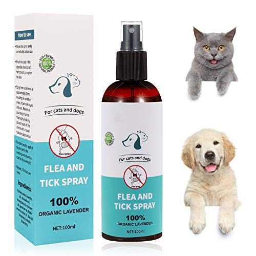 Flea Spray,Pulgas Spray,Anti Pulgas,Spray de Protección contra Pulgas, Pray Repelente de Pulgas de Lngredientes Naturales para Perros Pulgas Garrapatas, Apto para Perros y Gatos 100ml