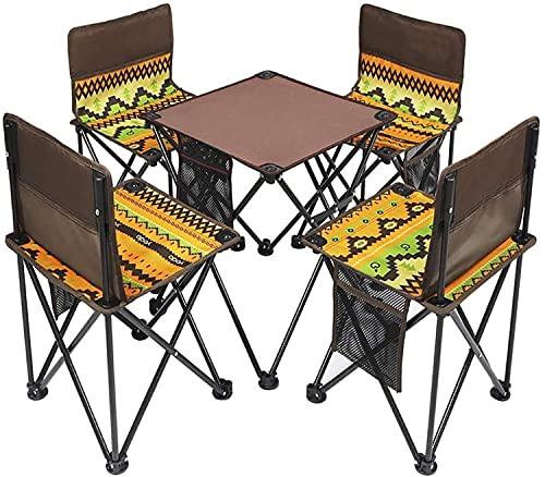 JDJFDKSFH Conjunto de Silla de Mesa de Camping Plegable, Asiento Plegable portátil liviano, al Aire Libre, Pesca, soporta hasta 120 kg (Color: Caqui C