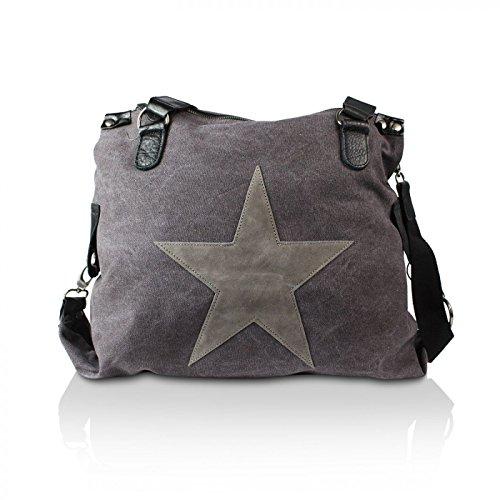 Glamexx24 Damen Tasche Handtaschen Schultertasche Umhängetasche mit Stern Muster Tragetasche