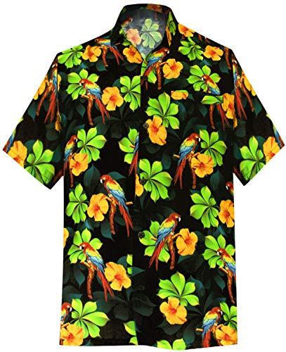 LA LEELA | Funky Hawaiihemd | Herren | Kurzarm | Front-Tasche | 3D HD | Hawaii-Print | Strand Blumen Papagei Gedruckt Schwarz_W589 L - Brustumfang (in cms) : 111-121