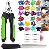 Queta 200 pezzi, 20 colori, cappucci colorati per unghie e forbici per artigli professionali con dispositivo di protezione, lima per unghie per cani, gatti con colla, 20 pezzi
