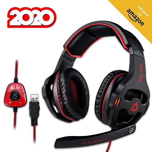 KLIM Mantis Gaming Headset - USB 7.1 Gaming Kopfhörer - Hohe Qualität mit mikrofon - Für PC Mac PS4 Laptop Games - Over Ear Gamer Headphones - Noise Cancelling Microphone [ Neue 2020 Version ]