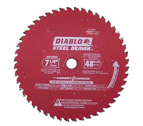 Diablo D0748CF STEEL DEMON 7 1/4 inch 48 Teeth Metal and Stainless Steel cutting Saw Blade CERMET II Carbide Up to 5X Longer Life