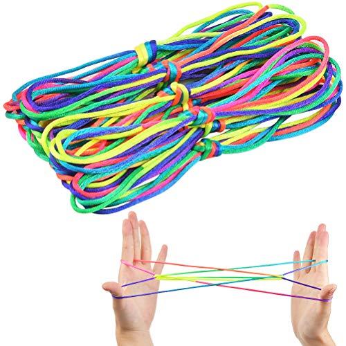 YANSHON 12 PCS Cuerda de Cuna para Gatos Cuerda de Juego de Mano Suministros de Juguete Creativo con Cuerda de Arcoíris Juegos Innovadores y Divertidos para Niños y Niñas Color Arcoíris de 62 Pulgadas