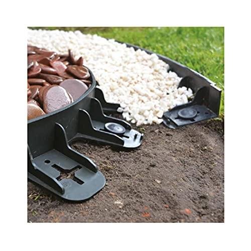 Bordo Giardino Flessibile, Bordi Aiuole Plastica, cordolo per ciottoli, con 12 Chiodi di Fissaggio, Lunghezza 3mt, Altezza 6cm