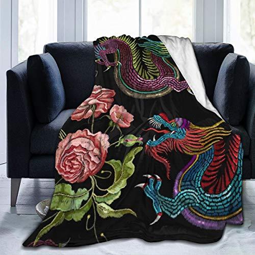 JKU Chinese Draken Pioenen Bloemen Fleece Deken Super Zachte Grote Lichtgewicht Gezellige Bank Bed Gooi Flanel