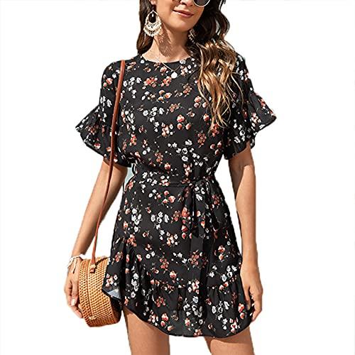 Primavera Y Verano Jersey Informal para Mujer Cuello Redondo Moda para Mujer Vestido De Hoja De Loto Floral para Mujer