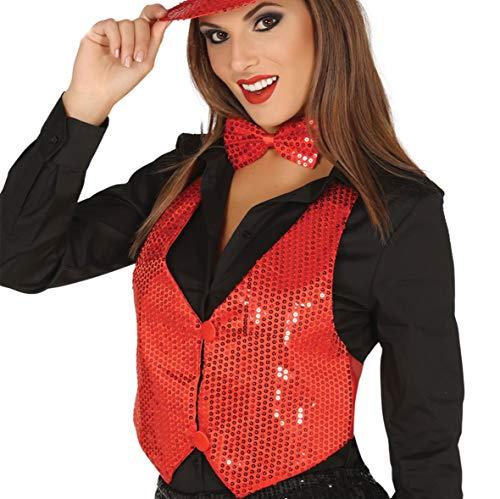 Rode pailetten gilet voor vrouw