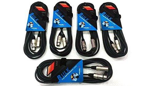 Proel - Cable Profesional de Audio para micrófono, altavoces y Monitor, Cannon XLR 3P, Macho/hembra-Juego de 5cables de 5m, referencia BULK250LU5