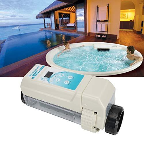 Generador de cloro salino Ec12 12G / H, tecnología avanzada de microordenador | Limpieza automática | Detección de nivel de agua | Indicador de nivel de sal | Función de alarma de avería para piscina,