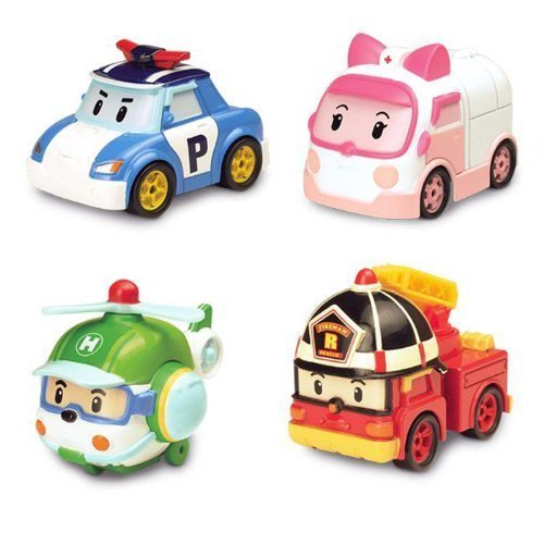 Robocar Poli Diecasting Set : Poli, Roy, Amber, Helly (Non-transformer) by Silverlit
