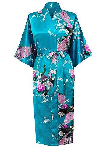 Westkun Donna Accappatoi Vestaglia Kimono Elegante Peacock Lungo Raso Giapponese Robe Abito più Silk Size Damigella d'Onore Pigiama Camicie da Notte S-3XL(Blu,S)