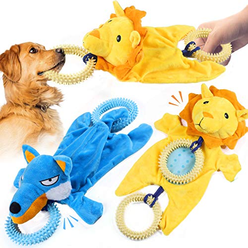 SAMMIU Hundespielzeug, Hundespielzeug, langlebig, interaktiv, Hundespielzeug, Plüsch, Quietschspielzeug mit Seil, Quietscher und Beißring