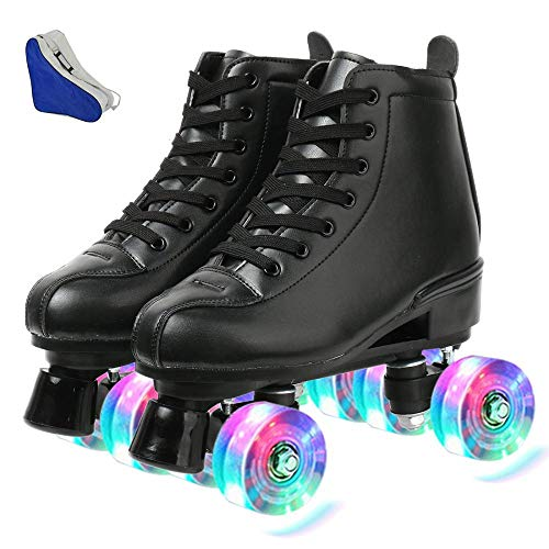Redson Women Roller Skates PU Leather Four-Wheel Roller Skates High-top Roller Skates Shiny Roller Skates for Girls Unisex with Bag (Black Flash Wheel,38-US: 7)