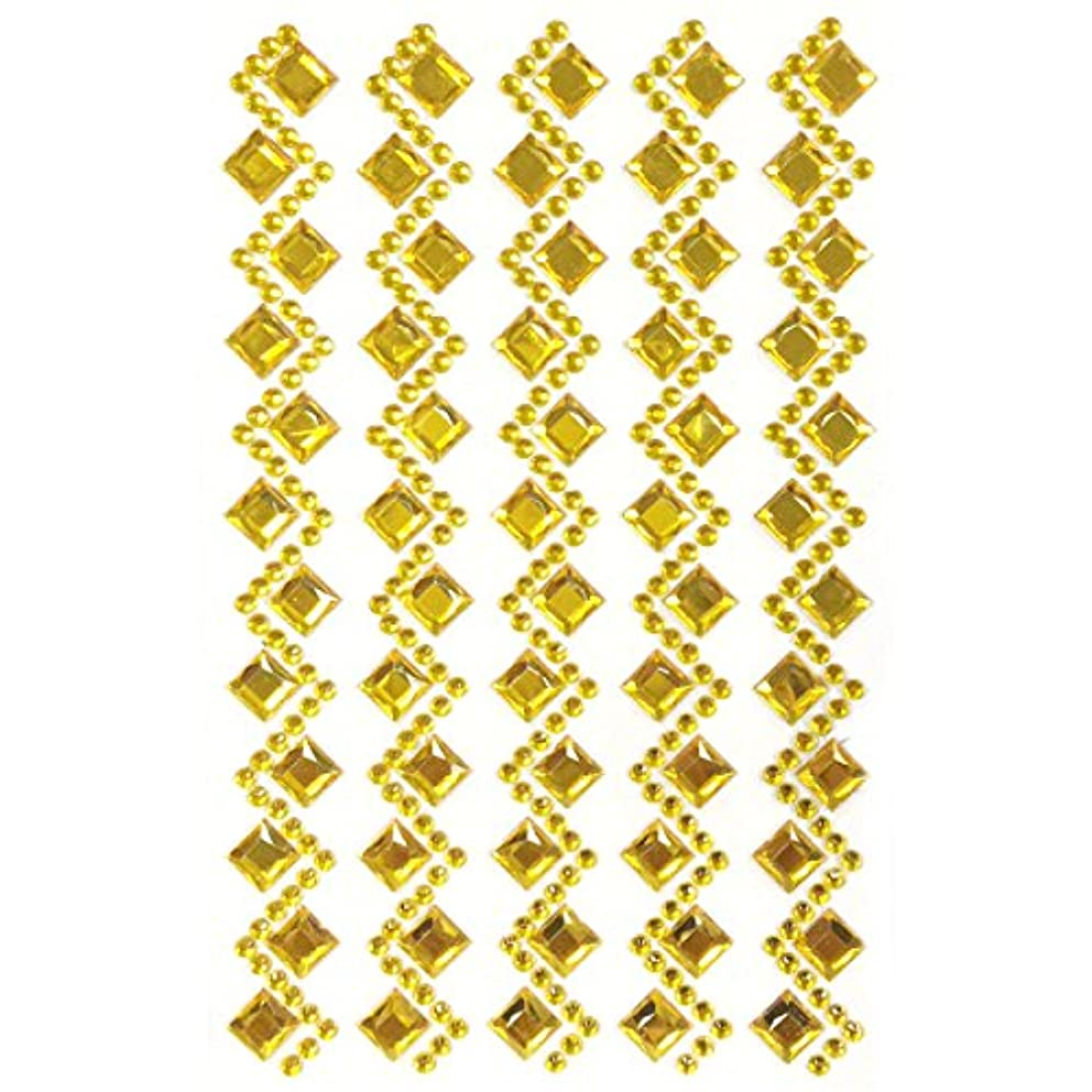 Allydrew Diamond and Round Acrylic Self Adhesive Crystal Gem Stickers, Gold