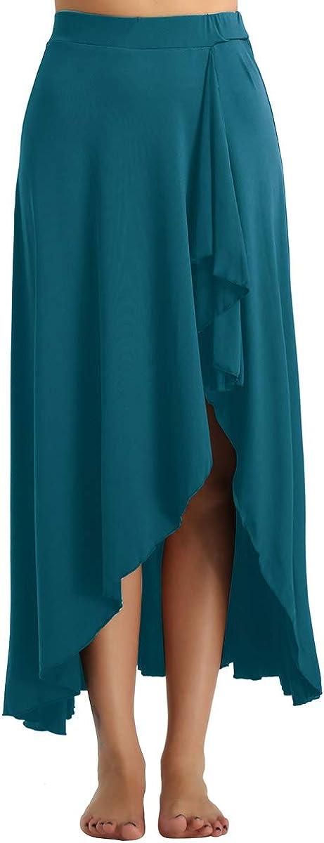 MSemis Women's Maxi Side Split Ankle Length A-line Ruffled Midi Skirt Ballroom Belly Dance Long Skirt