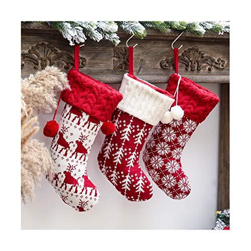 Knit Christmas Stocking Personalized Xmas Stockings Kit Chunky Elk Xmas Tree Snowflake Fireplace Holiday Stocking Decorations Large Size 16quot