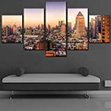 YYTOOF HD 5 Consecutive Paintings Canvas Printed a Set 5 Panels City Sunset Landscape Buildings Poster Home Decoration Wall Art Modular Picture
